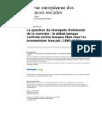 Ress 231 Xlv 137 La Question Du Monopole d Emission de La Monnaie Le Debat Banque Centrale Contre Banque Libre Chez Les Economistes Francais 1860 1875