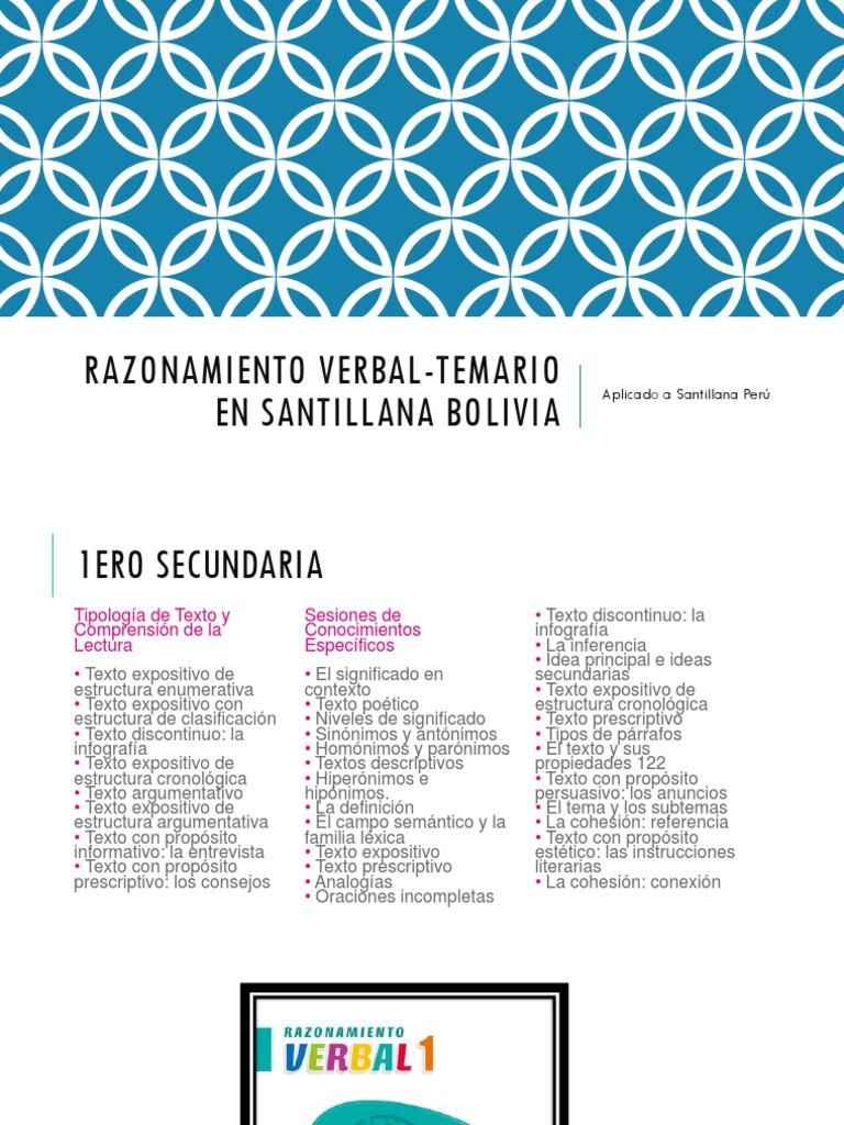 Razonamiento Verbal Temario En Santillana Bolivia Lectura