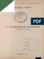 Teatro Colón Programa de Mano - Il Matrimonio Segreto
