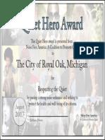 August Royal Oak Noise Ordinance Award