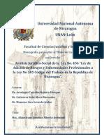 """Análisis Jurídico-Social de la Ley No. 456 """"Ley de Adición de Riesgos y Enfermedades Profesionales a la Ley No 185 Código del Trabajo de la Republica de Nicaragua""""."""