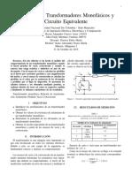 Polaridad en Transformadores Monofásicos y Circuito Equivalente