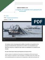 Derechos de Pesca y El Gasto en Gestión de La Pesca de Anchoveta