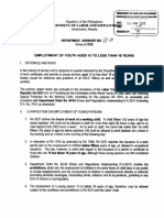 DOLE Department Advisory 01-08 Series of 2008 [Employment of Youth Aged 15-18]