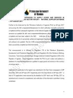 Petroleum Authority of Uganda national supplier database