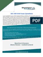 ACI - Operations Certificate 3I0-010 Exam Dumps