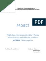 Proiect Politici Monetare Master