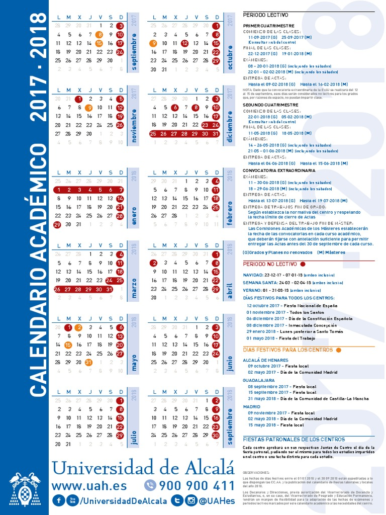 Uah Calendario Academico.Calendario Academico 2017 2018 Uah
