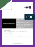 Sentencia New Invoca Constructor Java Crea Objetos Concepto Ejemplo