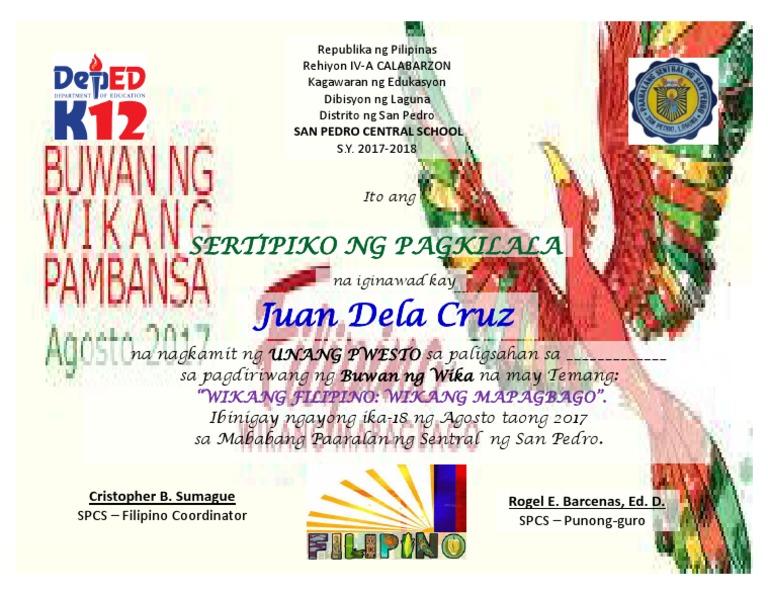 Certificate fiilipino yelopaper Choice Image