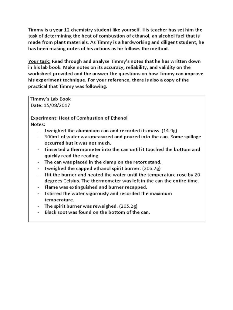 worksheet Combustion Analysis Worksheet heat of combustion timmy ethanol