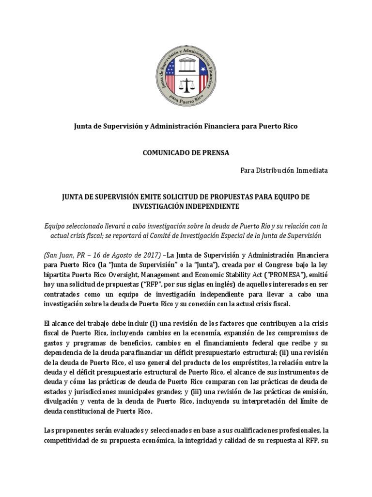 Comunicado Público Sobre La Solicitud de Propuestas Para La ...