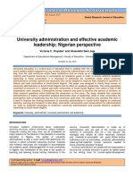 University Administration and Effective Academic Leadership Nigerian Perspective