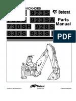 Bobcat Backhoe 730 Sh y Otros Manual de Partes