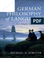 FORSTER, Michael. German Philosophy of Language - From Schlegel to Hegel and Beyond