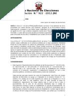 Inhabilitación por Jurado Nacional de Elecciones Resolución  922 - 2012 - JNE