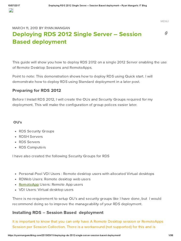 Deploying Rds 2012 Single Server Session Based Deployment Ryan