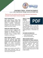 Canton Center Road Reconstruction Announcement