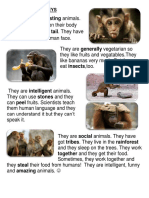 Reading Passage Monkeys Reading Comprehension Exercises 90628