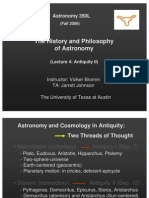 The History and Philosophy of Astronomy Lecture 4