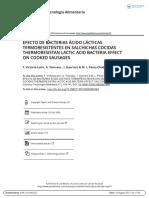 Efecto de Bacterias Cido l Cticas Termoresistentes en Salchichas Cocidas Thermoresistan Lactic Acid Bacteria Effect on Cooked Sausages