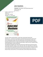 Menuju Jamaatul Muslimin Resume