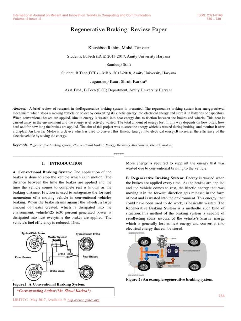 Regenerative Braking: Review Paper | Brake | Vehicles