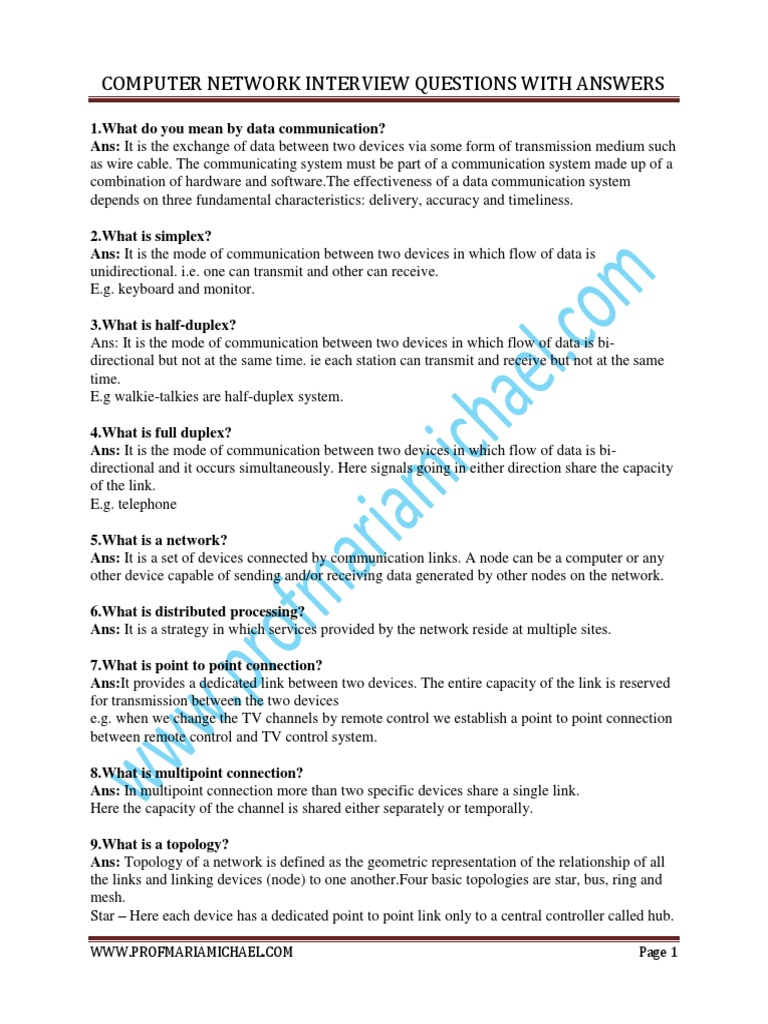 And computer interview and questions networking answers pdf hardware
