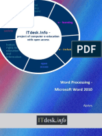 Microsoft Word 2010 Notes