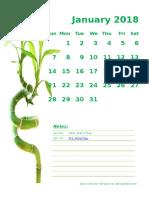 2018 Monthly Calendar Portrait 11
