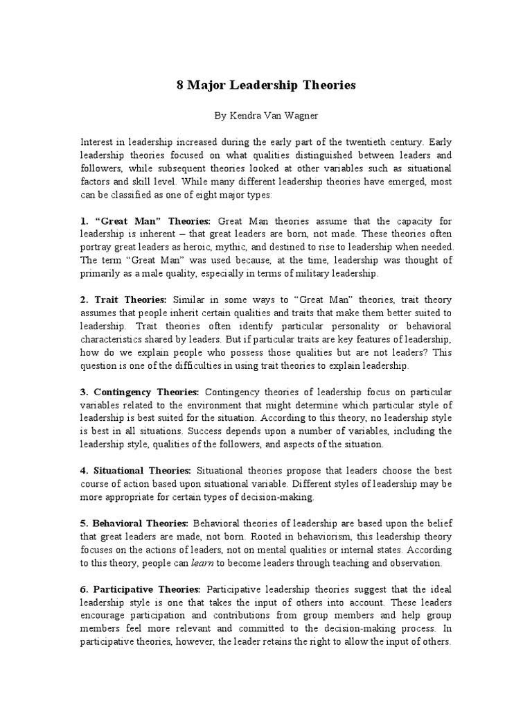 leadership 8 theories pdf