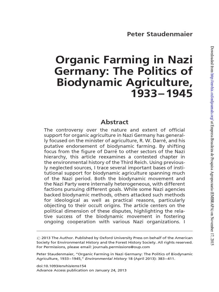 Organic Farming in Nazi Germany - Biodynamics | Schutzstaffel | Nazi ...