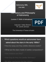 The History and Philosophy of Astronomy Lecture 17