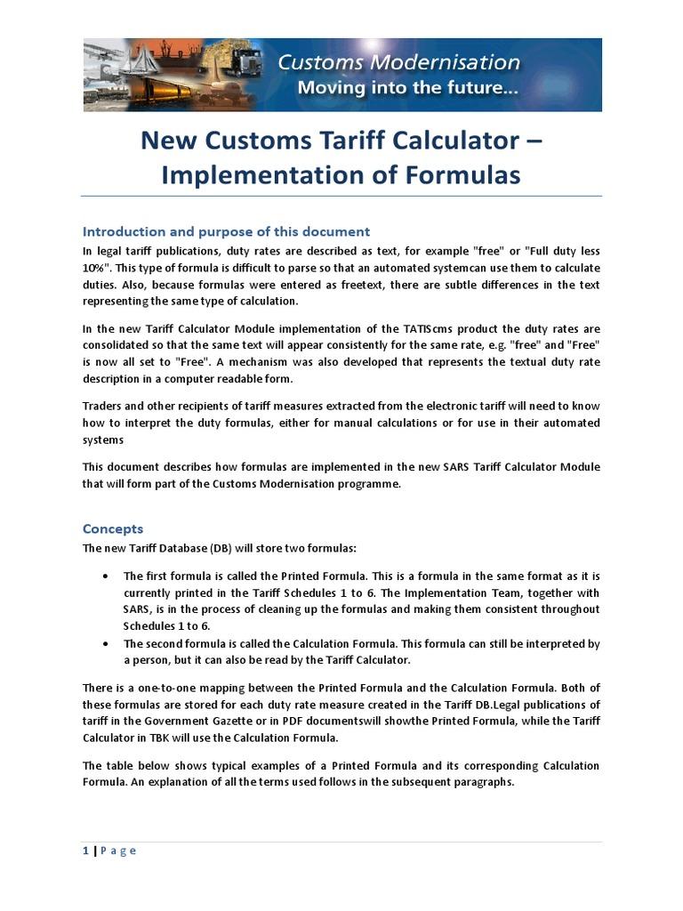SARS Tariff Formula 101 | Arancel | Impuesto al valor agregado