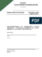 2115-2004 Transformadores de Distribucion Nuevos Trifasicos. Valores de Corriente Sin Carga, Perdidas y Voltaje de Cc
