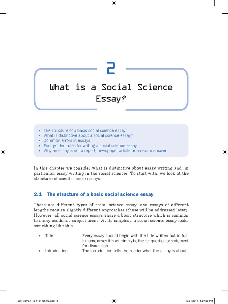 reflective essay about social science