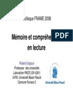 Memoire Et Comprehension en Lecture Goigoux Fname
