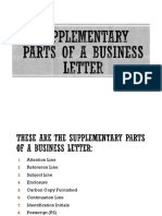 Supplementary Parts of a Business Letter