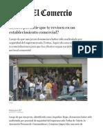 Aspec. Debes permitir que te revisen en un establecimiento comercial. Lima, El Comercio, 2017