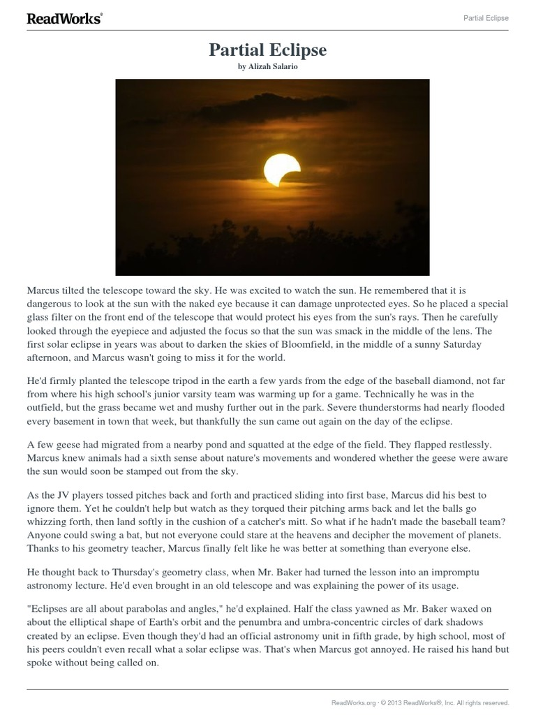 readworks passage | Solar Eclipse | Sun