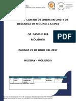 Vyp Informe de Inspeccion y Cambio Liners en Chute de Descarga Del Molino 1 a Cv04- Parada - Julio- Hudbay