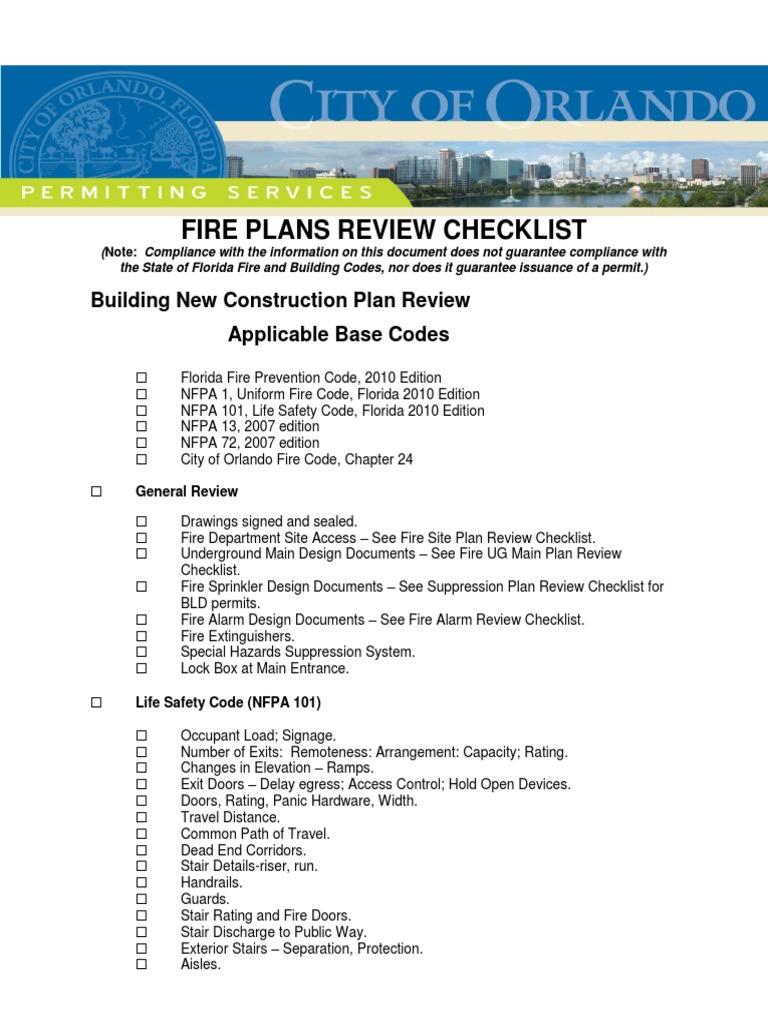 Fire Plans Review Checklist | Fire Sprinkler System | Building