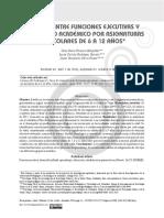 Relación Entre Funciones Ejecutivas y Rendimiento Académico Por Asignaturas en Escolares de 6 a 12 A
