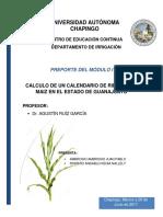 Reporte de Módulo I. Calendario de Riego.