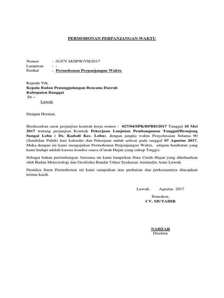 Surat Permohonan Perpanjangan Kontrak Kerja