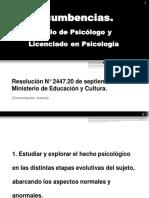 Incumbencias. Título de Psicólogo y Licenciado en Psicología (by CA)