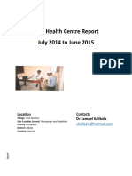Toth Health Centre Report Jul 2014 to June 2015