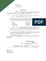 Affidavit of Own Damage to Vehicle - Template