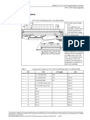 Simatic S7 S7 1200 Programmable Controller Cpu 1214c Wiring Diagrams Relay Electrical Components