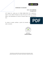 Certificado de Afiliación AFPModelo